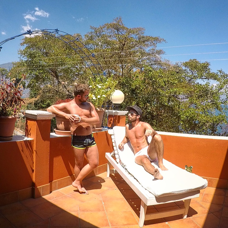 Relaxing on our terrace at our AirBnB in Lake Atitlan, Guatemala.