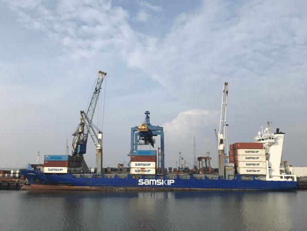 Cargo shipping boat in Rotterdam harbor. Photo: E. Stepanova