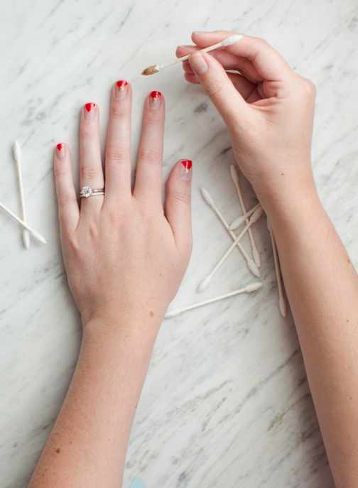 triangle nail art gold dot