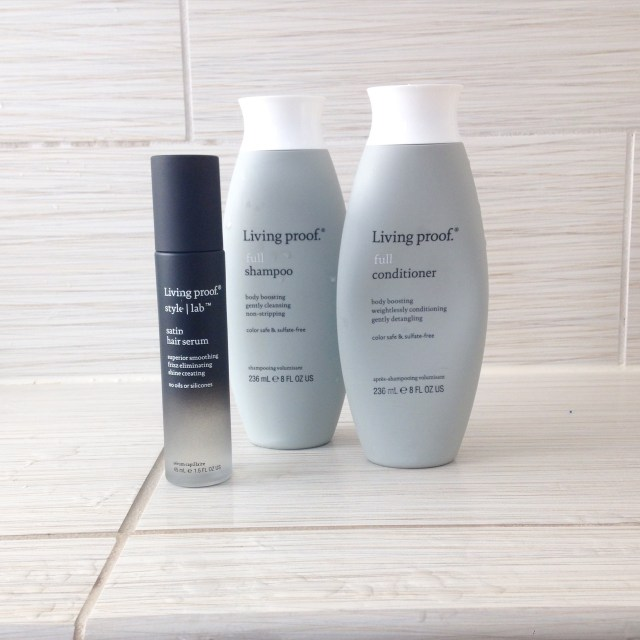 living proof full shampoo, full conditioner and satin hair serum