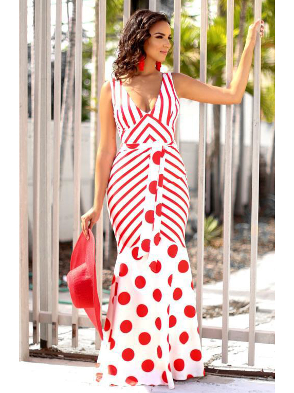 Sexy V Neck Striped Polka Dots Maxi Dress