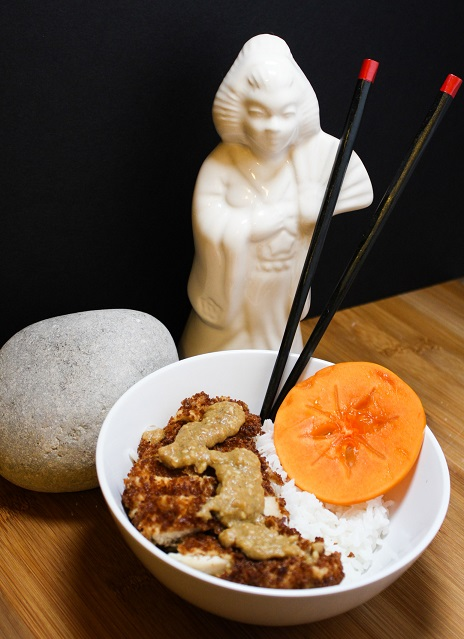 Torikatsu with Persimmon Coconut Curry Sauce inspired by Rise of the Tomb Raider. Cosplay in the Kitchen featuring The Lady Nerd. Recipe by The Gluttonous Geek.