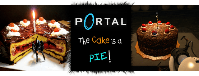 The Portal Cake is a Pie! This delicious AND moist lemon cake with dark chocolate ganache contains a juicy cherry PIE! Recipe by The Gluttonous Geek.