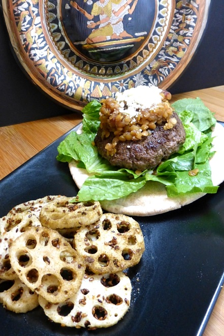 Celebrate summer with this recipe for Ra'merican Burgers with Lotus Fries, inspired by the game SMITE and the ancient Egyptian Sun God, Ra. Recipe by The Gluttonous Geek.
