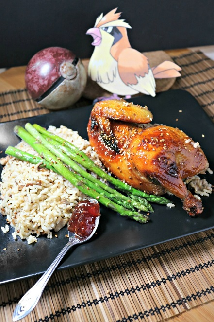 Cook this Pokemon inspired recipe for Roast Pidgey (Cornish Game Hen) Stuffed with Brown Rice and Shiitake Mushroom, Glazed with a Raspberry-Sesame Sauce. Recipe by The Gluttonous Geek.