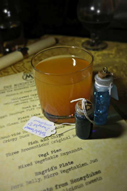 Pumpkin Juice in The Gluttonous Geek's recap of the 2016 Hogwarts Yule Dinner at Battle and Brew.