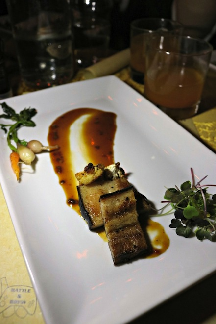 Hagrid's Plate Seared Pork Belly in The Gluttonous Geek's recap of the 2016 Hogwarts Yule Dinner at Battle and Brew.