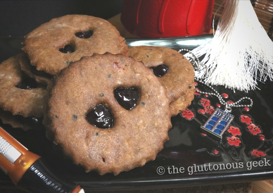 Need a pot of coffee, 12 Jammie Dodgers and a fez? We have you covered with this recipe for Dr. Who inspired Mocha Sesame Jammie Dodgers. Fez also included. Recipe by The Gluttonous Geek.