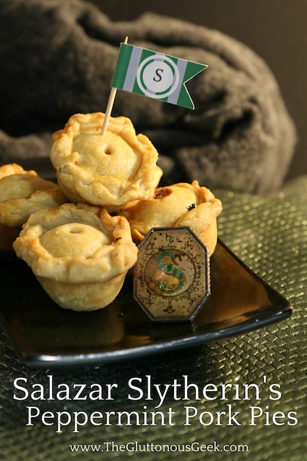 This recipe for mini pork pies, made with gunpowder green and peppermint tea, is inspired by Hogwarts Founder Salazar Slytherin. Recipe by The Gluttonous Geek.