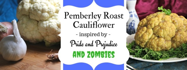 Pemberley Roast Cauliflower with Empress Sauce inspired by Pride and Prejudice and Zombies - stuffed with ham and shallots, and battered in a sesame-sake batter. Recipe by The Gluttonous Geek.