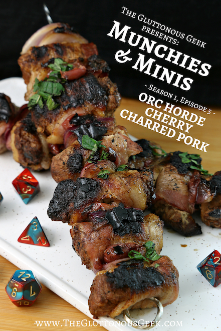 Orc Horde Cherry Charred Pork Skewers inspired by Dungeons & Dragons. Recipe by The Gluttonous Geek.