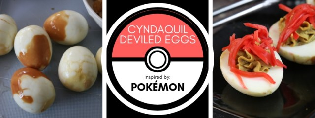 Cyndaquil Deviled Eggs inspired by Pokémon. Recipe by The Gluttonous Geek.