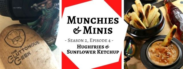 Hughfries & Sunflower Ketchup inspired by Shadowrun's Food Fight module. Recipe by The Gluttonous Geek.