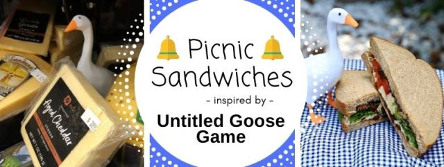 Picnic Sandwiches inspired by Untitled Goose Game. Recipe by The Gluttonous Geek.
