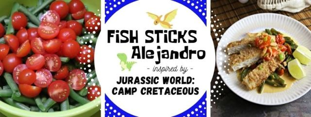 Fish Sticks Alejandro inspired by Jurassic World: Camp Cretaceous. Recipe by The Gluttonous Geek.