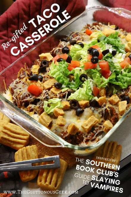 Cheese straw-topped Taco Casserole inspired by Grady Hendrix's The Southern Book Club's Guide to Slaying Vampires. Recipe by The Gluttonous Geek.