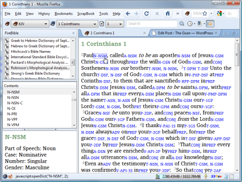 Viewing Greek Word Morphology using FireBible
