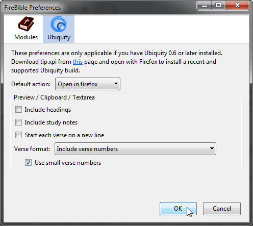 FireBible Ubiquity Preferences