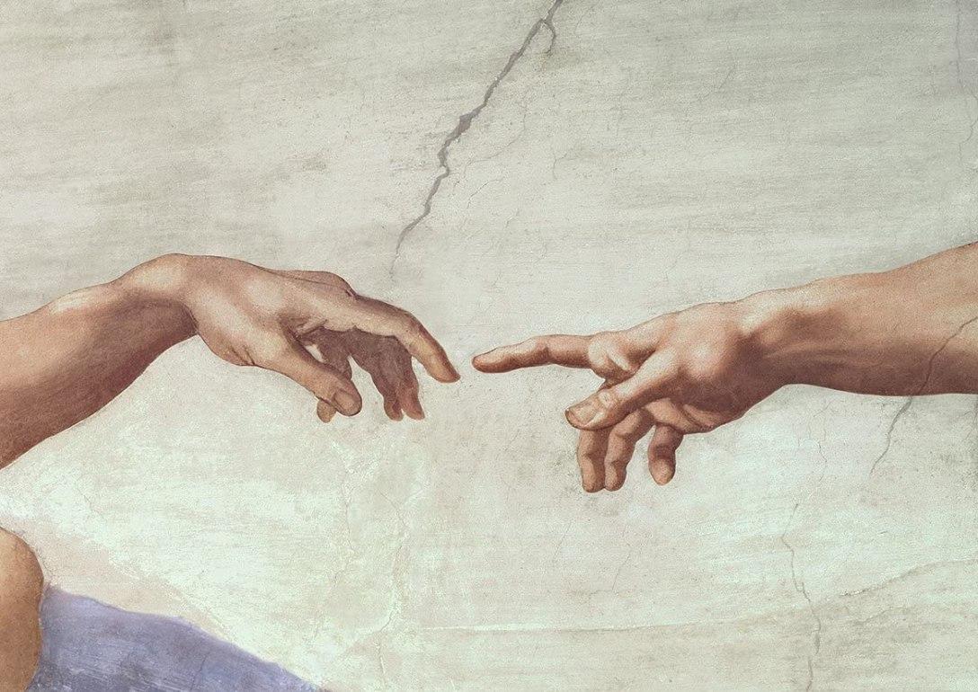 Michelangelo's Creation of Adam, detail.