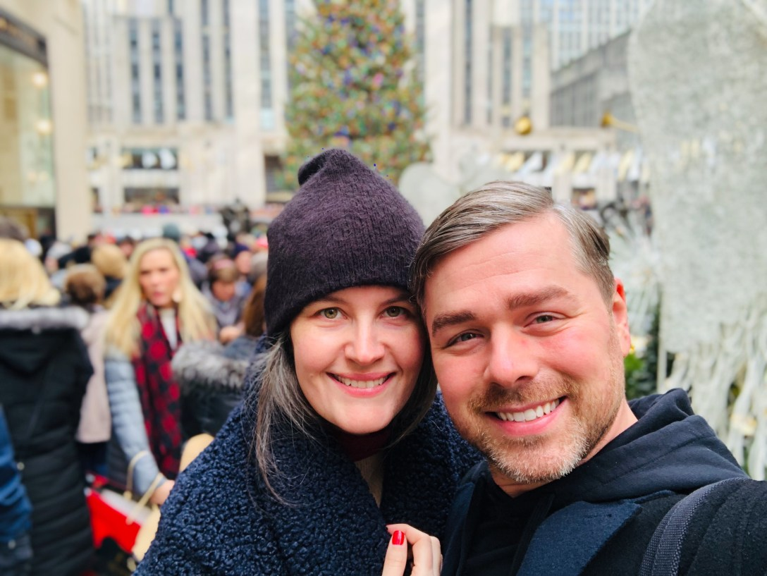 The Goddess Attainable in New York City with best friend in Rockefeller Center, 2018.