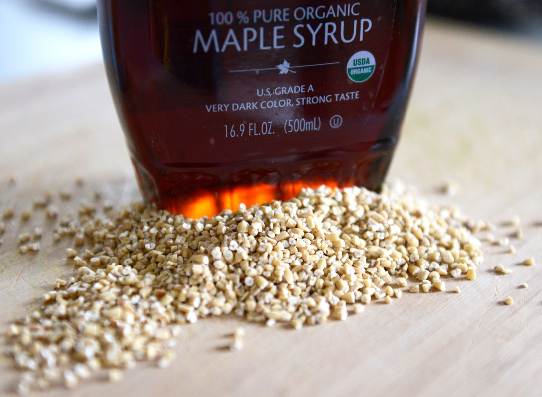 Maple syrup and steel cut oats.