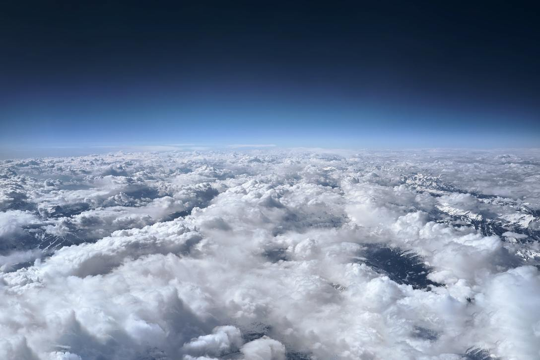 view from above of blue sky and clouds