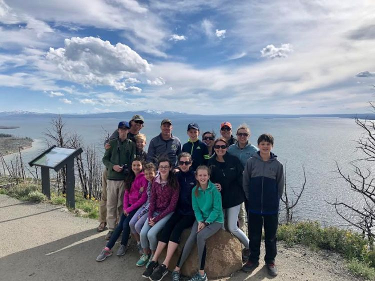 Lake Yellowstone in Yellowstone National Park on a multi-family trip