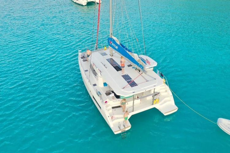 sailing catamaran in BVI