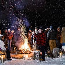 Winter bonfire provides social time outdoors