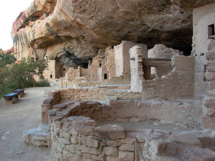 historic cliff dwellings inside Mesa Verde National Park in the summer