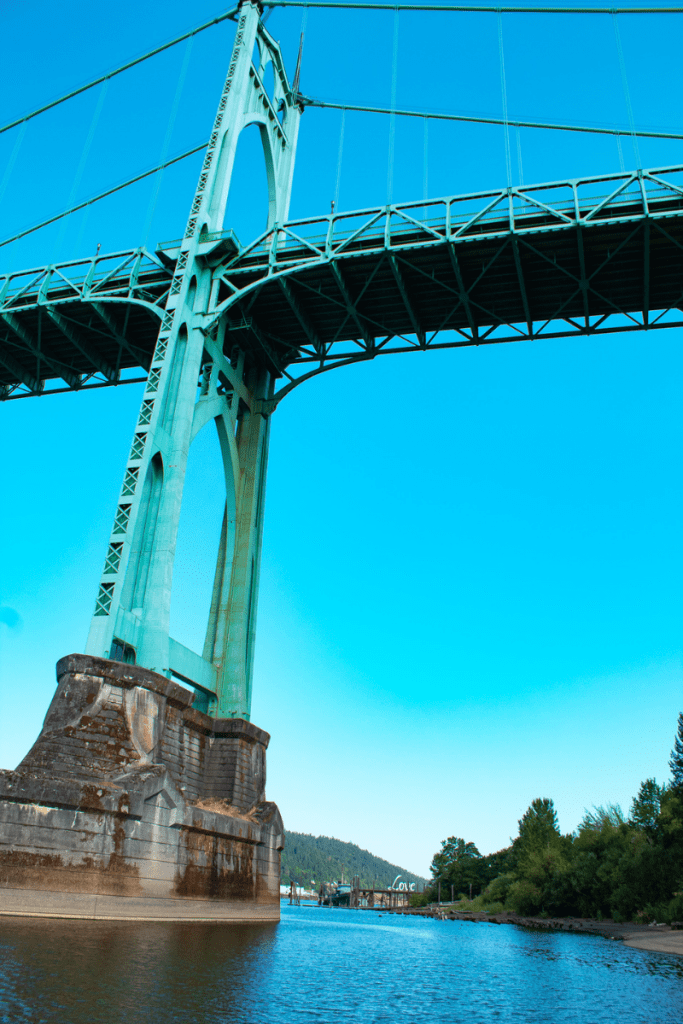 Upward photo shot of the bridge over the Willamette River at Cathedral Park