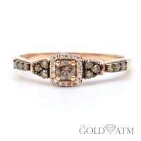 14K Rose Gold Round Chocolate Diamond Ring (LARGE RING ...