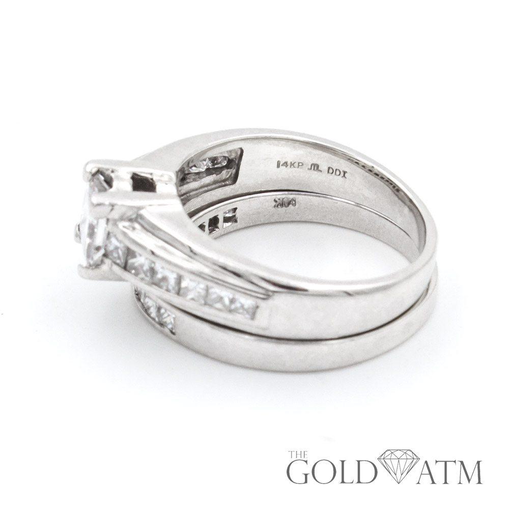 14K White Gold Princess Cut Diamond Engagement Ring Set