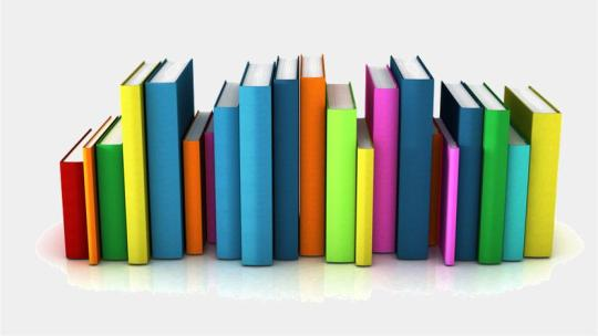 a lineup of different books in varied colors