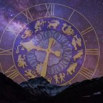 starry sky and an astrology clock