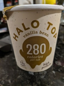 Tub of Halo Top Vanilla Ice Cream