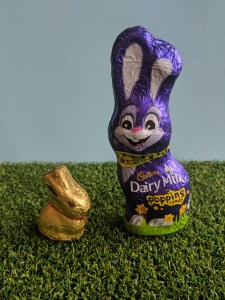 Cadbury's chocolate bunny and lindt golden bunny