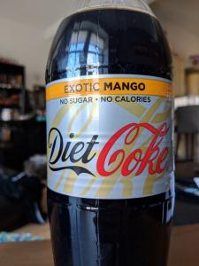 Exotic Mango Diet Coke bottle close up