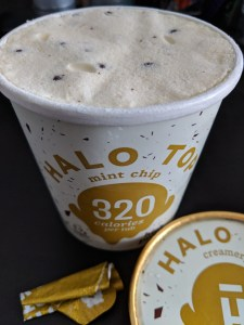 Halo Top mint ice-cream close up