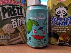 Boxes of Matcha snacks and ocean bomb soda