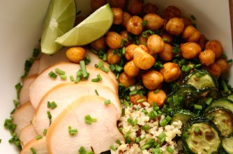 Quinoa bowl with smoked chicken, roasted zucchini and harissa roasted chickpeas