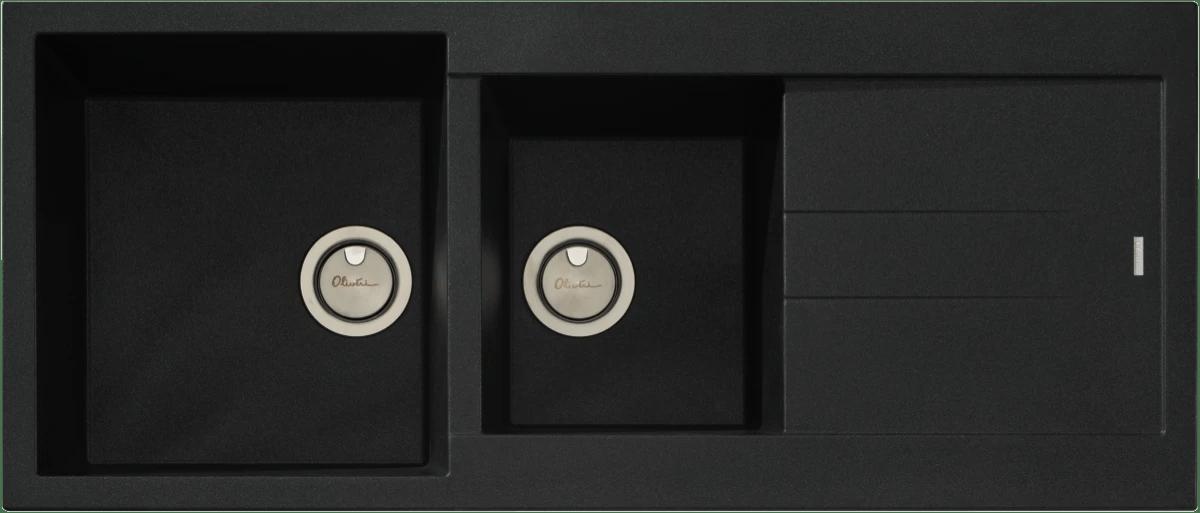 black sink kitchen best appliance package sinks the good guys oliveri santorini 1 3 4 bowl with drainer granite