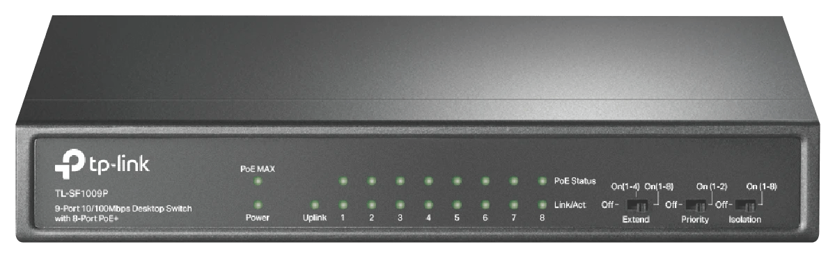 TP-LINK TL-SF1009P 9-Port 10/100Mbps Desktop Switch with 8-Port PoE at The Good Guys
