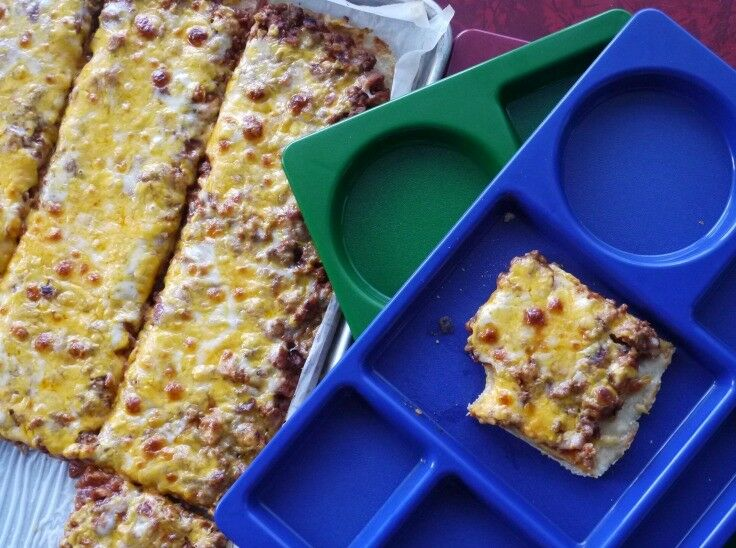 Old School Cafeteria Pizza Recipe | The Good Hearted Woman
