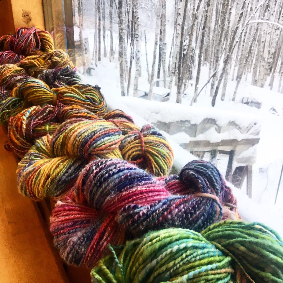 Hand-dyed and hand-spun yarn at Calypso Farm and Ecology Center