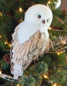 photo of owl in Christmas tree