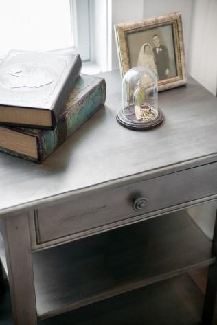 photo of grey nightstand