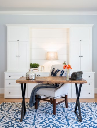 photo of built-ins and reclaimed desk and chair