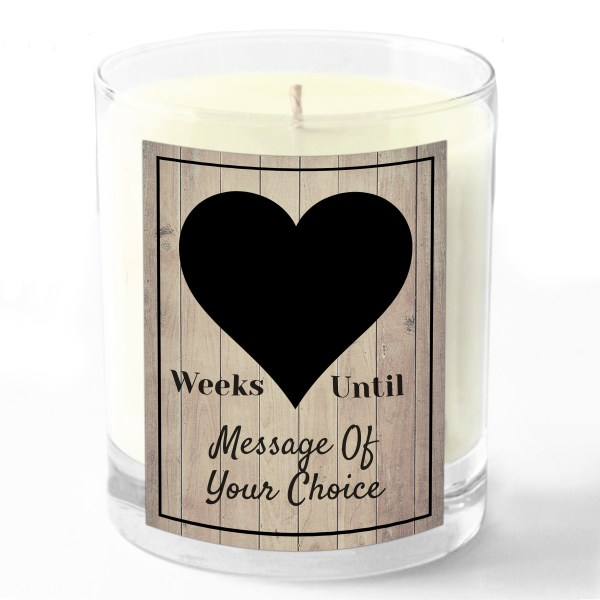 Weeks until Message Of Your Choice candle white background no no number