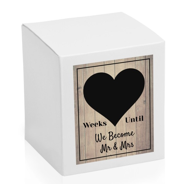 Weeks until We until We become mr and mrs countdown chalk board candle box